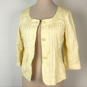 Talbots Yellow Pleated Jacket 3/4 Sleeve Sz 10 E16